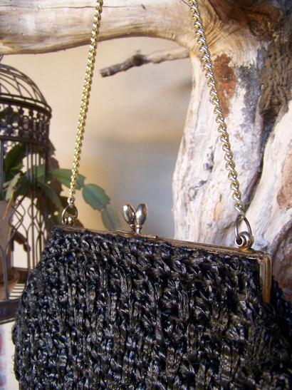Vintage Black Straw Bag