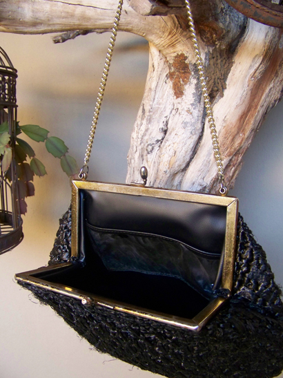 Vintage Black Straw Bag
