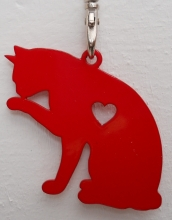 Keyring - Cat licking Paw -Red