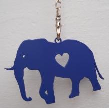 Keyring - Elephant - Blue