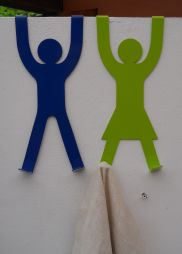 His & Hers Door Hooks - Blue & Lime with cloth (small res)