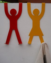 His & Hers Door Hooks - Red & Yellow with cloth (small res)